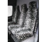 Mercedes Sprinter 06 onwards Van Seat Covers Silver Tiger Faux Fur Fabric