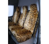 Mercedes Sprinter 00-05 Van Seat Covers Gold Tiger Faux Fur Fabric