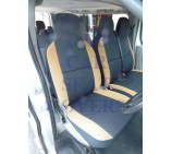 Ford Transit Van Seat Covers (2014 Onwards) Rack Black + Tan Suede Trim