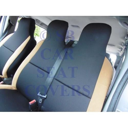 Ford Transit Custom Van Seat Covers Rack Black Tan Suede