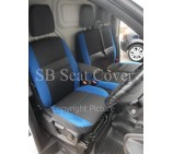 Ford Transit Custom Van Seat Covers- Anthracite + Blue Bolsters Full Set