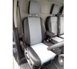Ford Transit Custom Van Seat Covers - Made to Measure Silver + Black Leatherette