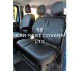 Renault Trafic 6 seater crew cab 2016, seat covers in full black leatherette - made to measure