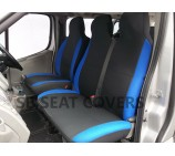 Mercedes Vito van seat covers anthracite + alcantara blue trim (cloth fabric) VSC103B