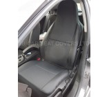 VW Transporter T5 Van Seat Covers - Anthracite III + Leatherette Trim - 2 Fronts