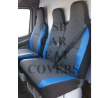 Ford Transit Custom Van Seat Covers 89D With Blue Leatherette Trim