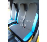 VW Transporter T6 Van Seat Covers - Anthracite Cloth + Blue Leatherette Trim