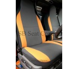 Fiat Ducato Van Seat Covers Anthracite Fabric with Orange Bolsters -(2008 onwards models)