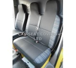 VW Transporter T6 Van Seat Covers - Anthracite Cloth + Laser Trim