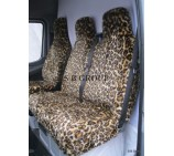 Peugeot Boxer van seat covers leopard faux fur fabric