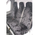 VW Crafter van seat covers black faux panther deluxe fur fabric
