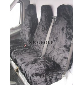 VW Transporter T5 van seat covers black faux panther deluxe fur fabric