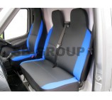 Fiat Ducato Van Seat Covers Anthracite Cloth with Blue Side Bolsters