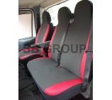 VW Transporter T4 Van Seat Covers Anthracite Cloth with Red Leatherette Trim