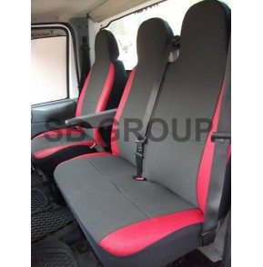 Ford Transit van seat covers anthracite cloth with red leatherette trim -2006+ models