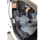 VW Transporter T5 2 Seater Van Seat Covers, Rossini Mesh Sport BO 3, Grey & Black, 2 fronts