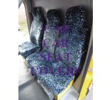 Peugeot Boxer van seat covers Blue Leopard faux fur fabric