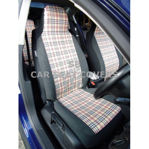 vw transporter t5 van seat covers burberry 2 fronts. Black Bedroom Furniture Sets. Home Design Ideas