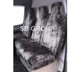 Mercedes Sprinter van seat covers grey panther faux fur fabric (2000-2005 models)
