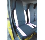 Peugeot Boxer van seat covers Charlton Grey Suede with Pink Leatherette Panels single and double