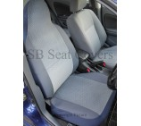 VW Transporter T5 Van Seat Covers - Chevron Blue - 2 Fronts