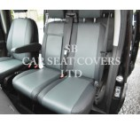 Ford Transit (2014 Onwards) Van Seat Covers - SA4 Grey Leatherette With Grey Leatherette Trim Made To Measure Set