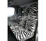 Peugeot Boxer van seat covers zebra faux fur fabric