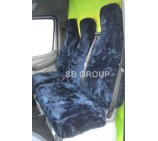 Peugeot Boxer van seat covers rich navy blue faux fur fabric