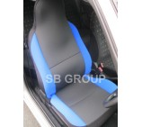 Nissan NV200 van seat covers anthracite cloth fabric with blue bolsters- 2 fronts