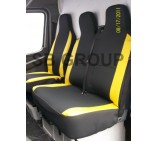 Mercedes Sprinter van seat covers anthracite cloth fabric with yellow leatherette trim (2000-2005 models)