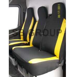 VW Transporter T5 van seat covers anthracite cloth fabric with yellow leatherette trim