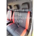 VW Crafter 2006 Onwards Van Seat Covers - Rossini Bentley Diamond Stitch Red & Black