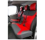 Nissan Primastar 9 seater mini bus seat cover - Red leatherette made to measure set - VSC902