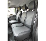 Renault Trafic 9 seater new shape mini bus 2016, seat covers - black & grey leatherette made to measure set