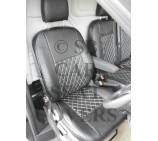 Ford Transit Custom Van Seat Covers - Rossini Diamond Stitch Black