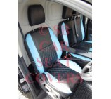 Ford Transit Custom Van Seat Covers - Rossini Diamond Stitch Blue + Black
