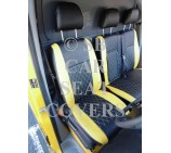 Mercedes Sprinter 2006 Onwards Van Seat Covers - Rossini Diamond Stitch Yellow + Black