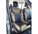 Renault Trafic Van (2006 - 2013) Seat Covers - Rossini Diamond Stitch Beige + Black