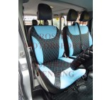 Renault Trafic Van (2006 - 2013) Seat Covers - Rossini Diamond Stitch Blue + Black