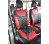 Renault Trafic Van (2006 - 2013) Seat Covers - Rossini Diamond Stitch Red + Black