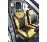 Renault Trafic Van (2006 - 2013) Seat Covers - Rossini Diamond Stitch Yellow + Black