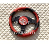 VW Transporter T5 Van Steering Wheel Cover SWC P24 M Red / Black Leatherette - 14.5 inches - Medium