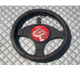 Ford Fiesta Van steering wheel cover SW13M Black Leather - 14.5 inches- Medium