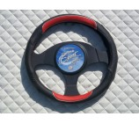 Fiat Scudo Van 2008+ steering wheel cover Italian Leather Black Red Sports- SW12M