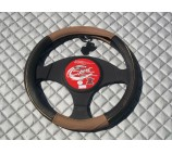 Ford Fiesta Van steering wheel cover SW14M black Italian leather - size 14.5 inches- Medium