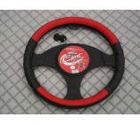 Nissan Primastar Van up to 2014 models steering wheel cover SW6M black+red leather - 14.5 inches-medium