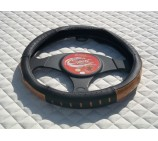 VW Transporter T5 Van steering wheel cover SW8M Black Leather - 14.5 inches - Medium