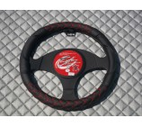 Ford Transit Van steering wheel cover Black Leatherette + Red Trim - SWC P3 M
