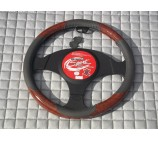 Ford Transit Van steering wheel cover Grey Leatherette with Walnut Trim- SWC P4 M