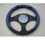 VW Transporter T5 Van steering wheel cover SW19M black+blue leather - 14.5 inches-medium